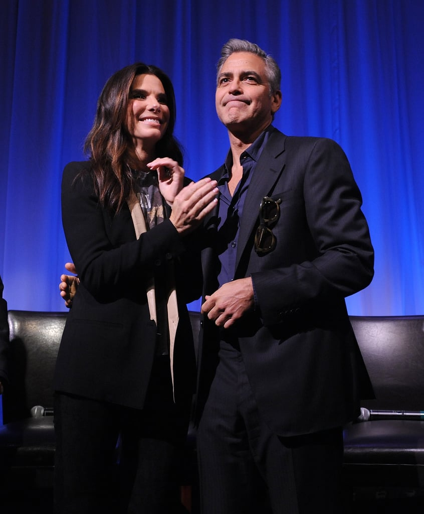 Sandra Bullock met up with George Clooney at an Academy of Motion Picture Arts and Sciences screening of Gravity.