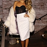 Is there anything more luxurious than Maryna Linchuk's fur coat, which she layered over a corseted top?