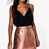 Boohoo Amala Metallic A-Line Miniskirt