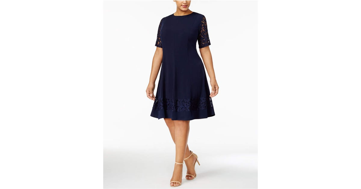 Jessica Howard Plus Size Lace-Sleeve Fit & Flare Dress ...