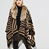 7X Printed Blanket Wrap Scarf With Faux Fur Collar ($41)