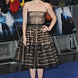 For the UK premiere of Man of Steel, Amy Adams was a vision in a strapless, lace fit-and-flare Valentino Haute Couture dress, which needed little else other than her gold-and-black ankle-strap Casadei pumps and a pair of drop earrings.