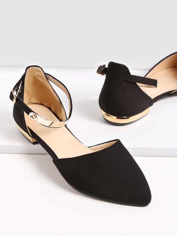 661b0a75e SheIn Black Pointed-Toe Metallic Slingback Flats | Best Cheap Shoes ...