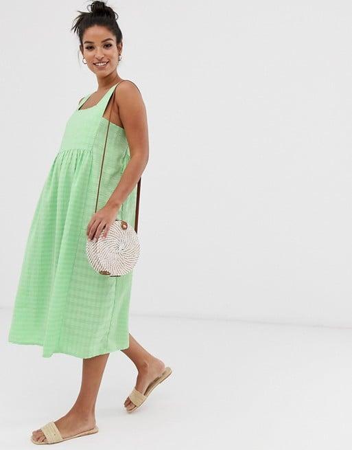 ASOS DESIGN Maternity square neck textured midi smock sundress | ASOS