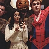 Camila Mendes and KJ Apa as an Angel and Spiderman