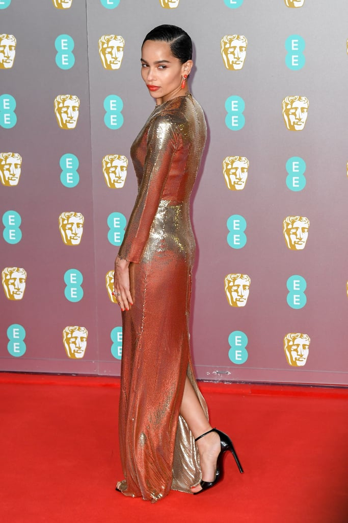 Zoe Kravitz At The Ee British Academy Film Awards 2020 Zoe Kravitz Gold Dress At The Bafta Awards 2020 Popsugar Fashion Uk Photo 3