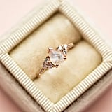 Rose Gold Rainbow Moonstone and Diamond Misty Ring
