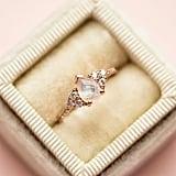 Rose Gold Rainbow Moonstone and Diamond Misty Ring