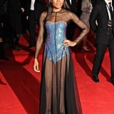 Naomie Harris wore a sexy, black sheer dress for Skyfall's London premiere.