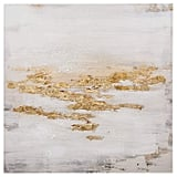 Abstract Gold and White Flecks on Canvas