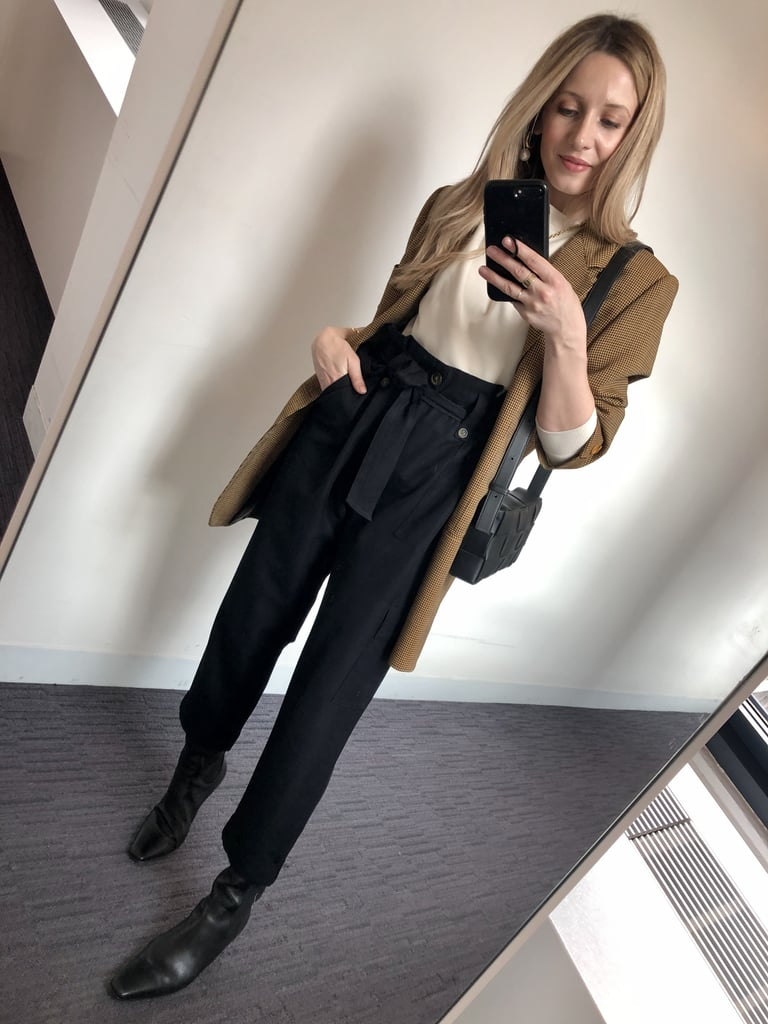 How I Styled My Utility Pants: With a Sweatshirt, Oversize Blazer, Black Boots, and a Bag