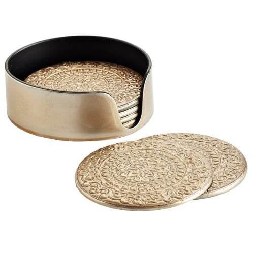 Champagne Embossed Coaster Set of 6 with Stand