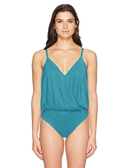 774fc951df Gottex Women's V-Neck Blouson One Piece Swimsuit | Best Swimsuits ...