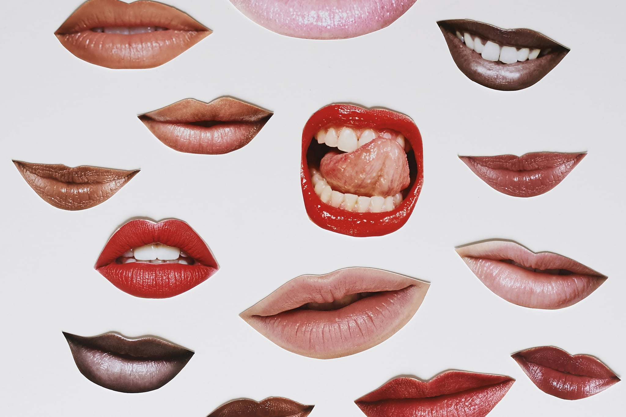 montage of faces lips eys mouths