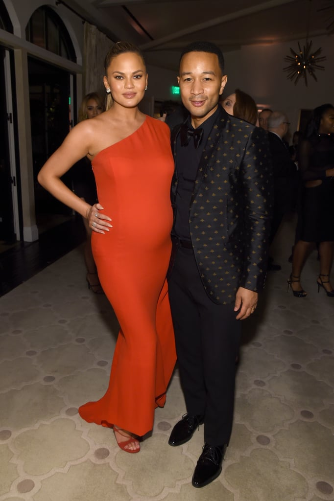 She picked a one-shouldered dress for a Grammys afterparty with husband John Legend.