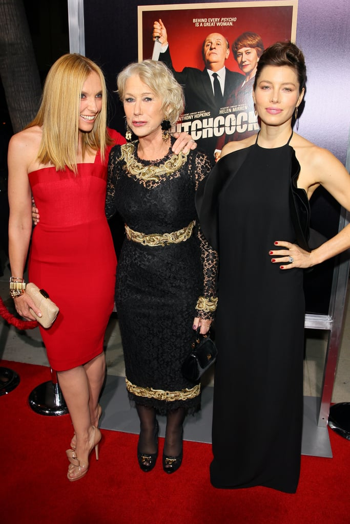 "Jessica Biel wore Gucci to the LA premiere of Hitchcock last night. She was joined on the red carpet by two of her fellow leading ladies, a Dolce & Gabbana-clad Helen Mirren and Toni Collette, in Alex Perry. Jessica tweeted a photo of herself with Helen and Toni, captioning it, ""Lemme tell you about my girl crush on these two. . . Helen and Toni!"" The trio were together for another screening Sunday in NYC with costar Scarlett Johansson, who missed out on the West Coast event. Scarlett was at the Late Show yesterday, having stayed behind in the Big Apple ahead of her 28th birthday tomorrow. Scarlett and Jessica weren't together last night, but they can be seen side by side in our exclusive clip from Hitchcock, which is out in theaters Friday."