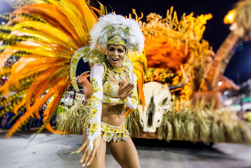A member of Vila Isabel samba school performed during a parade in Rio de Janeiro, Brazil.