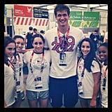 Swimmer Nathan Adrian ran into the women's gymnastic's team. Source: Twitter user jordyn_wieber