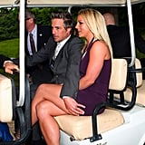Jason Trawick had his hand over Britney Spears's lap as they made their way to the Fox Upfronts party in NYC in a golf cart.
