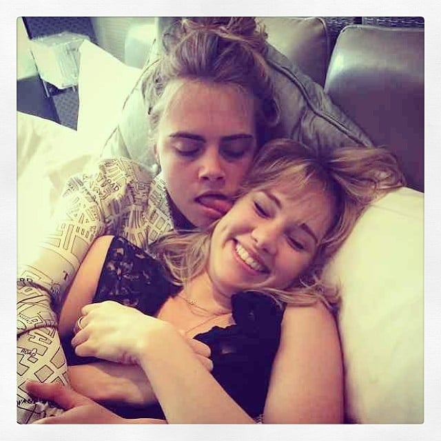 "Suki Waterhouse got licked by her ""shugapoo"" Cara Delevingne. Source: Instagram user sukiwaterhouse"
