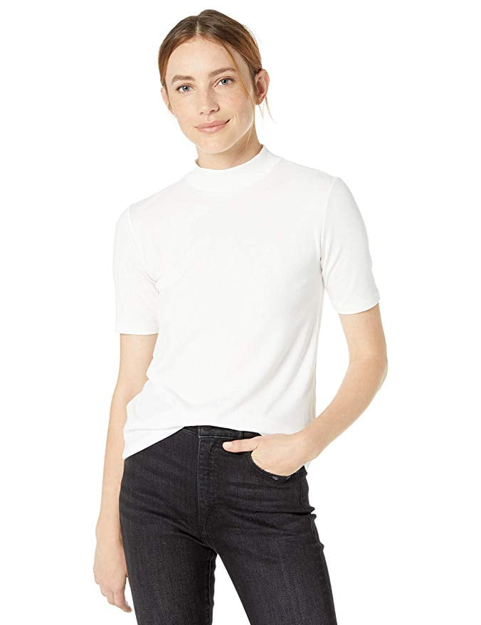 The Drop Joanna Short-Sleeved Mock-Neck Ribbed T-Shirt