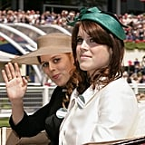 Princess Beatrice of York and Princess Eugenie of York arrived in a horse drawn carriage on the opening day of Royal Ascot in 2011.