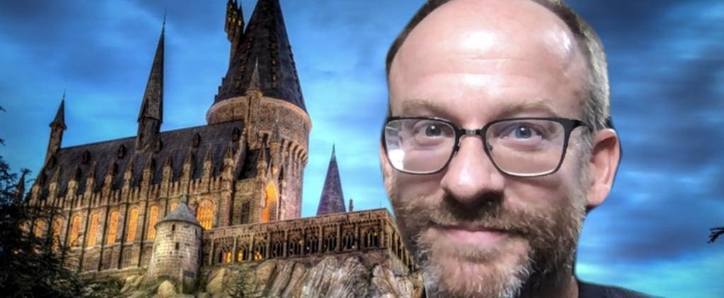Professor Teaching In Front Of Virtual Hogwarts Backdrop