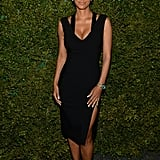 Guest of honor Halle Berry stayed true to her effortless style in a black, high-slit Michael Kors dress, ankle strap sandals, and Michael Kors Watch Hunger Stop campaign watch.