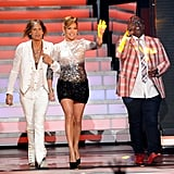 Jennifer Lopez took the stage with Randy Jackson and Steven Tyler before the show.