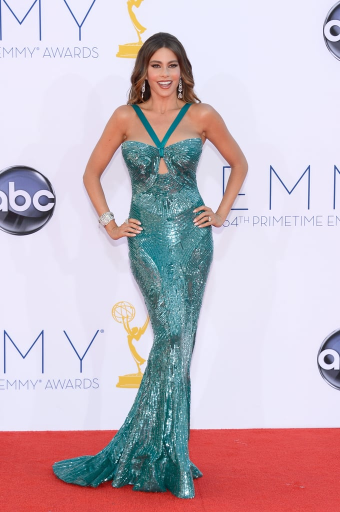 Sofia Vergara wore a turquoise Zuhair Murad dress on the red carpet.