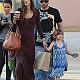 Alessandra Ambrosio spent a weekend afternoon shopping with her family in LA.