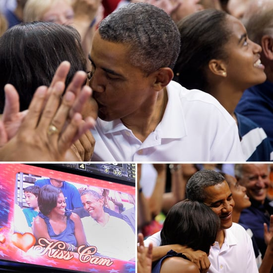 Barack and Michelle Obama Kiss Cam Pictures