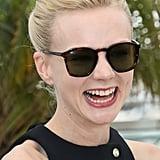Carey Mulligan wore tortoise-rimmed sunglasses.