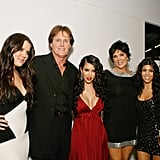 Kim Kardashian posed with her sisters Khloé and Kourtney, brother Robert, and Kris and Bruce Jenner at the premiere party for Keeping Up With the Kardashians in LA in October 2007.