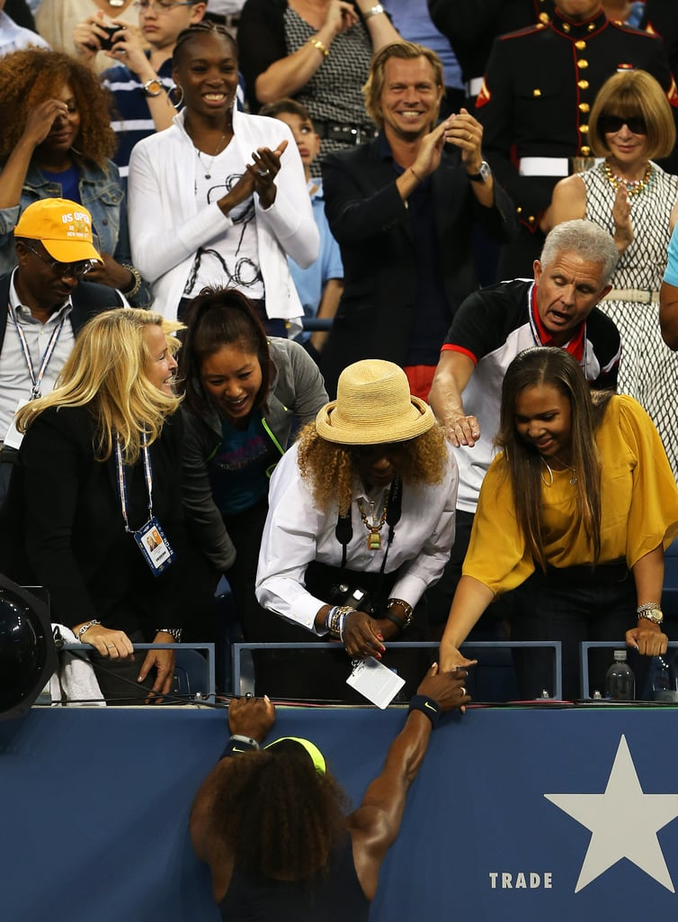 Because at a tennis match, she can let loose!
