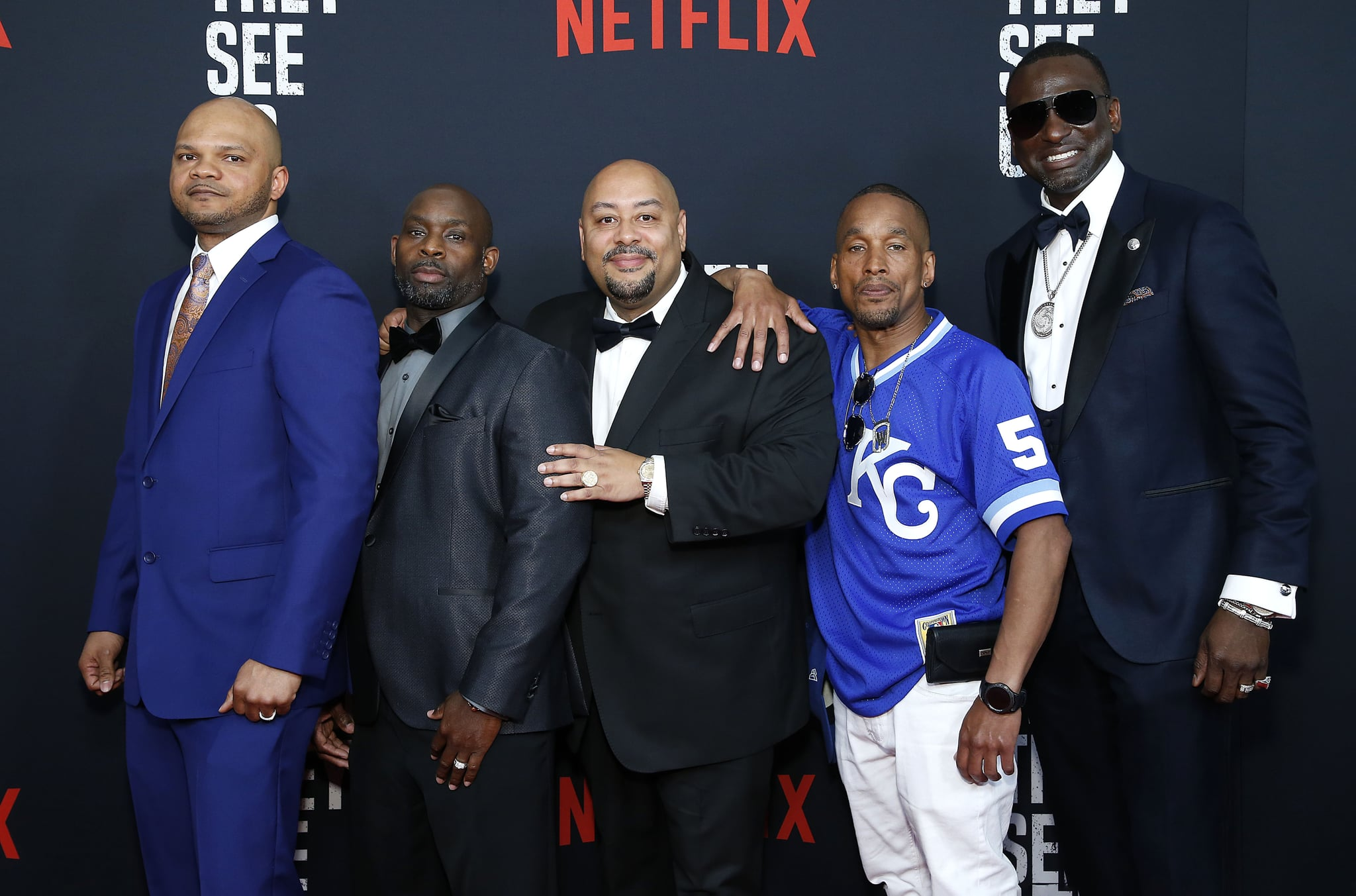 NEW YORK, NEW YORK - MAY 20: (L-R) Kevin Richardson, Antron McCray, Raymond Santana, Korey Wise, and Yusef Salaam attend
