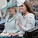 Camilla, Duchess of Cornwall rode with Kate in a carriage during the Horse Guards Parade, while Prince William was in uniform and atop a horse.