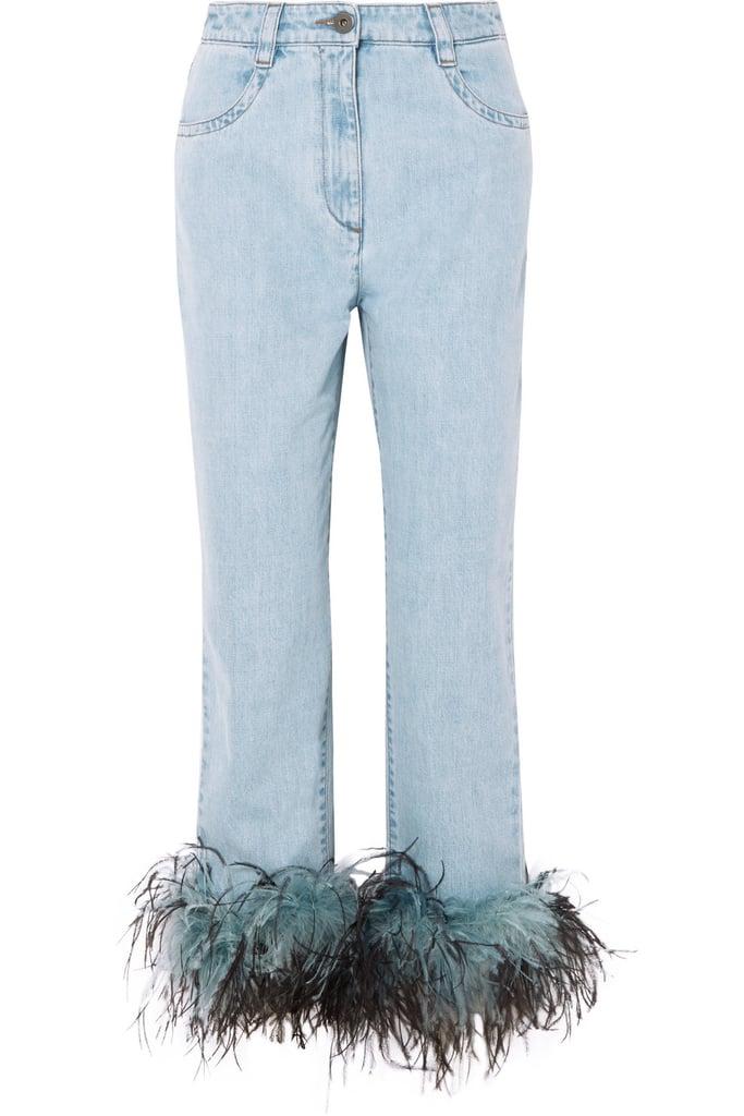Prada Feather-Trimmed Boyfriend Jeans