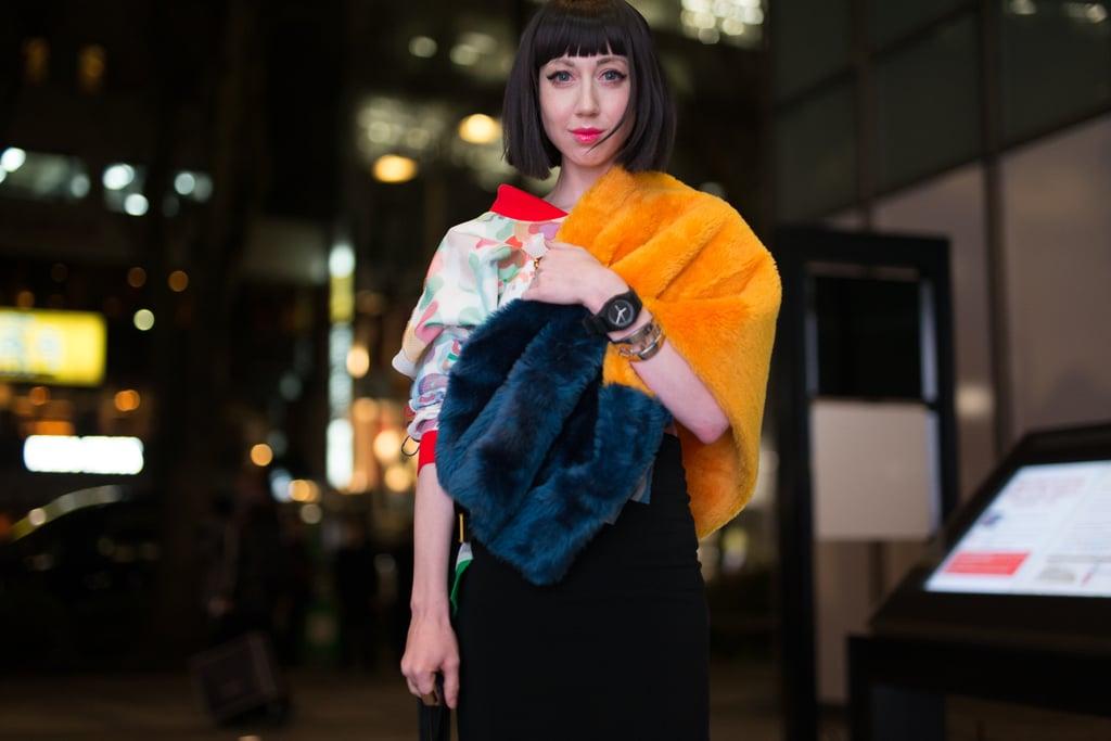 bfb98ec91a59 Wear a Multicolored Faux-Fur Stole Over Your Shoulder