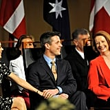 Frederik held onto Mary as they chatted to former Prime Minister Julia Gillard in Canberra in Nov. 2011.
