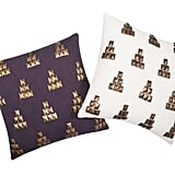 Metallic Stud Pillows in Purple and Ivory ($25 each)