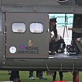 Tom Cruise boarded a helicopter.