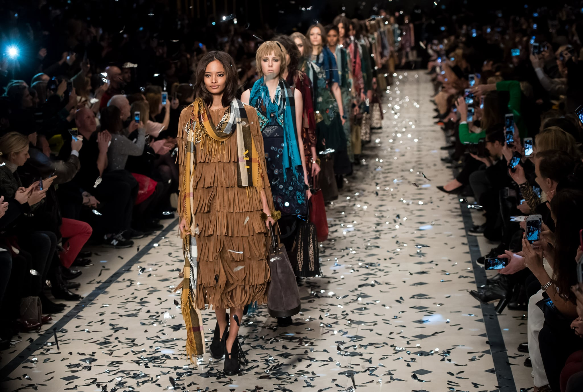 LONDON, ENGLAND - FEBRUARY 23:  A model walks the runway at the Burberry Prorsum show during London Fashion Week Fall/Winter 2015/16 at perk's Field on February 23, 2015 in London, England.  (Photo by Ian Gavan/Getty Images)