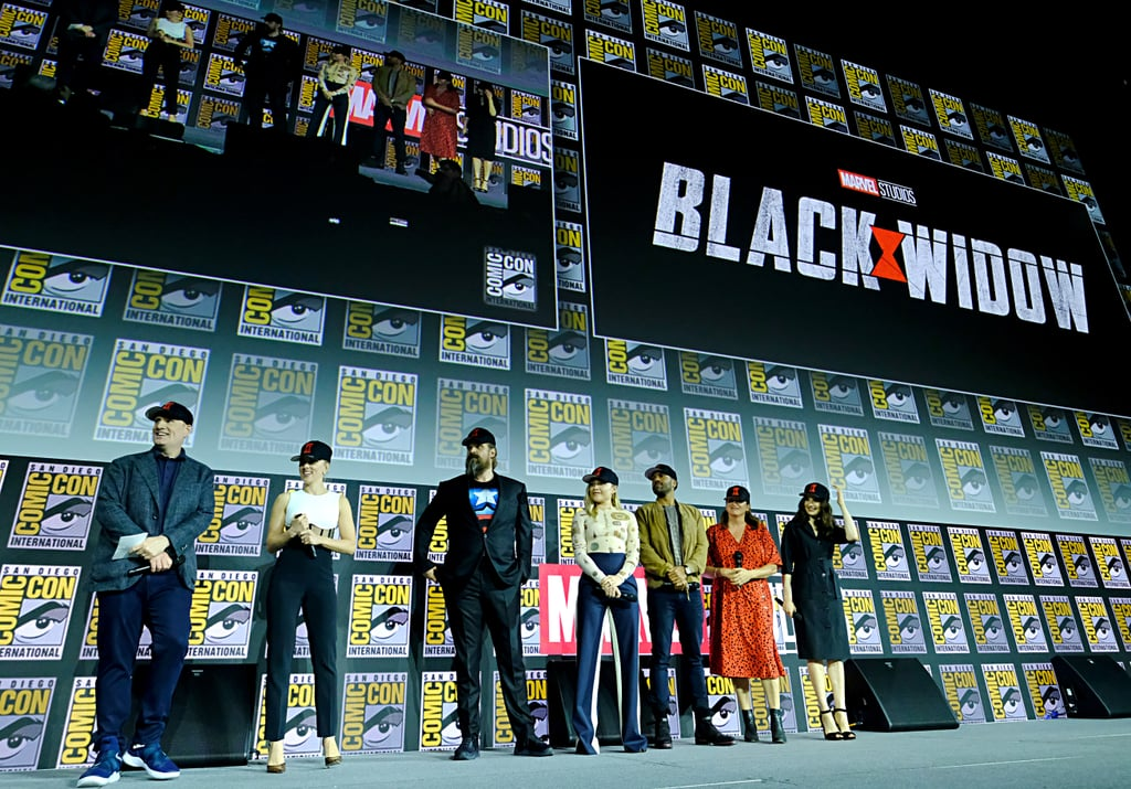 Pictured: Kevin Feige, Scarlett Johansson, David Harbour, Florence Pugh, O-T Fagbenle, Cate Shortland, and Rachel Weisz at San Diego Comic-Con.