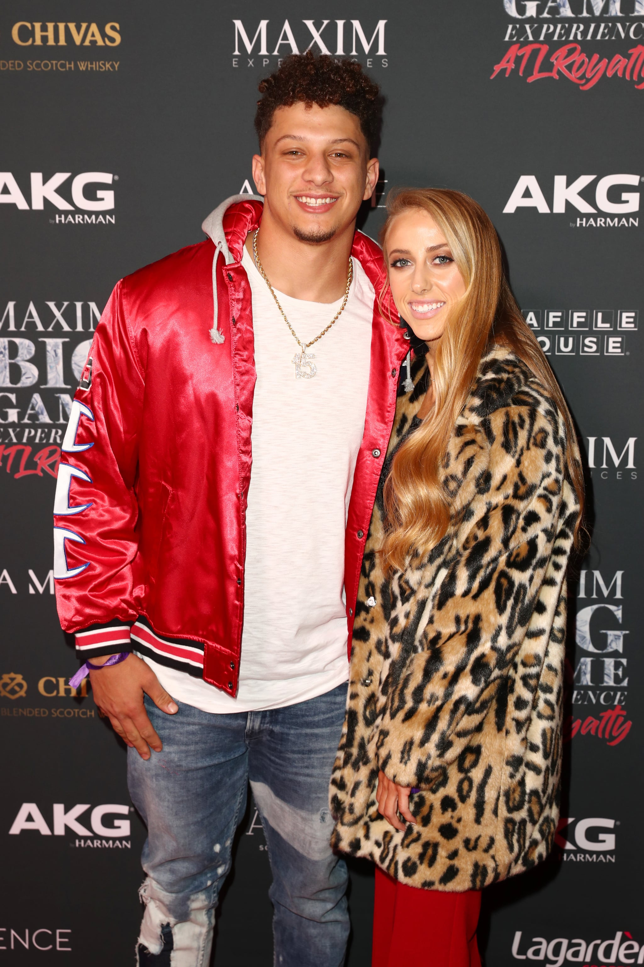 ATLANTA, GEORGIA - FEBRUARY 02: Patrick Mahomes II (L) and Brittany Matthews attend The Maxim Big Game Experience at The Fairmont on February 02, 2019 in Atlanta, Georgia. (Photo by Joe Scarnici/Getty Images for Maxim)