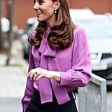 Kate Middleton Gucci Shirt and Jigsaw Trousers March 2019