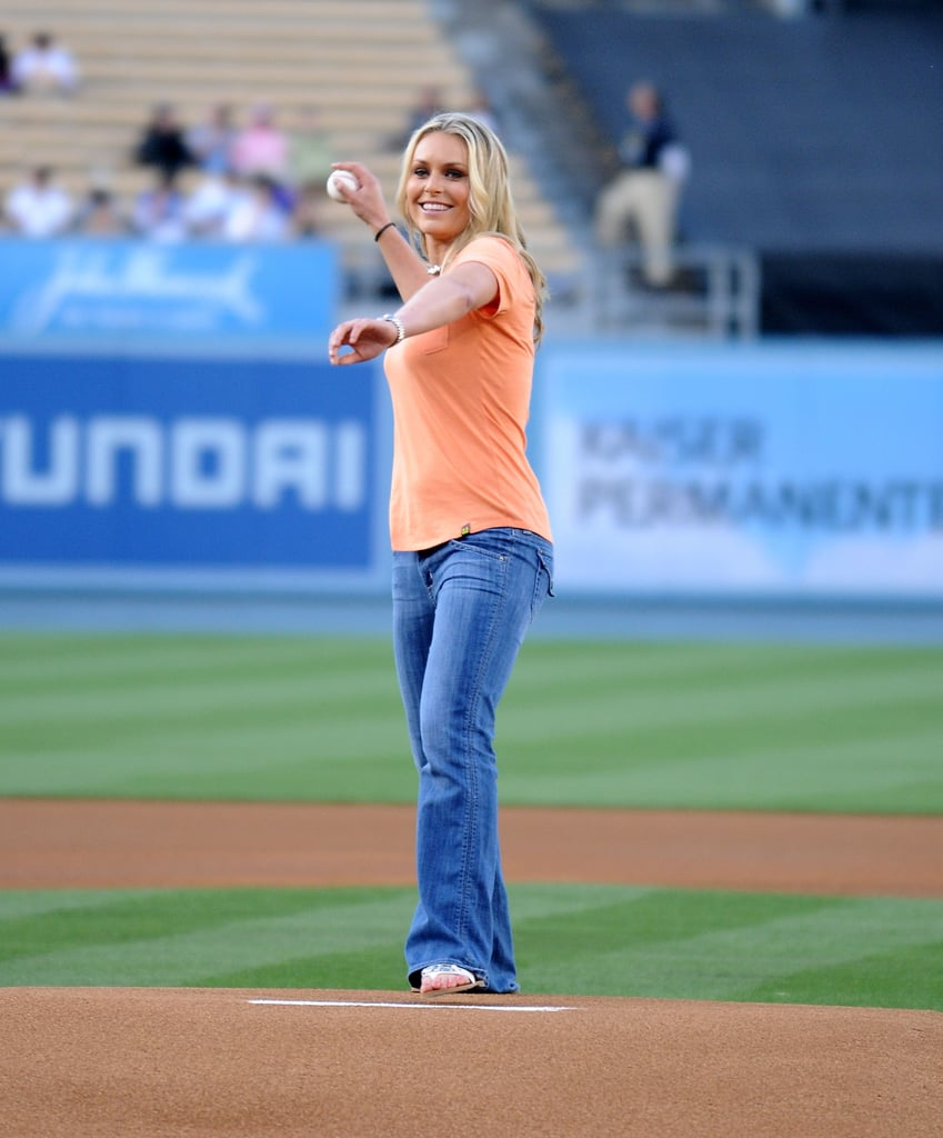 In May 2011, Lindsey Vonn threw out the first pitch at Dodger stadium in LA.