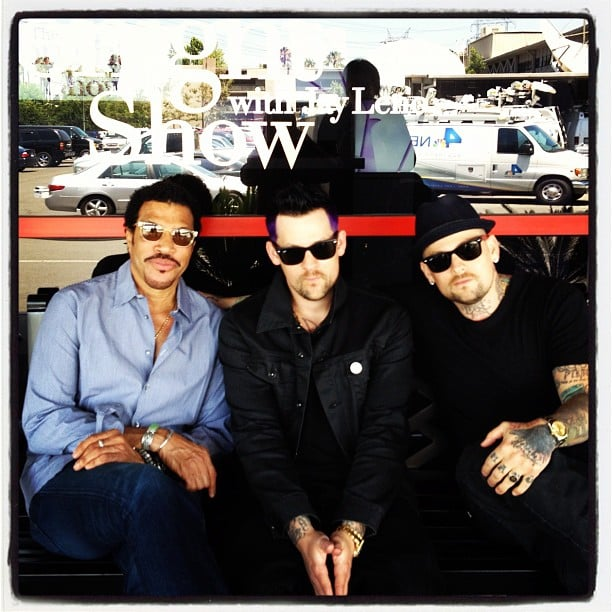 Joel Madden posed with his brother Benji and father-in-law Lionel Richie outside of the Tonight Show With Jay Leno. Source: Instagram user joelmadden