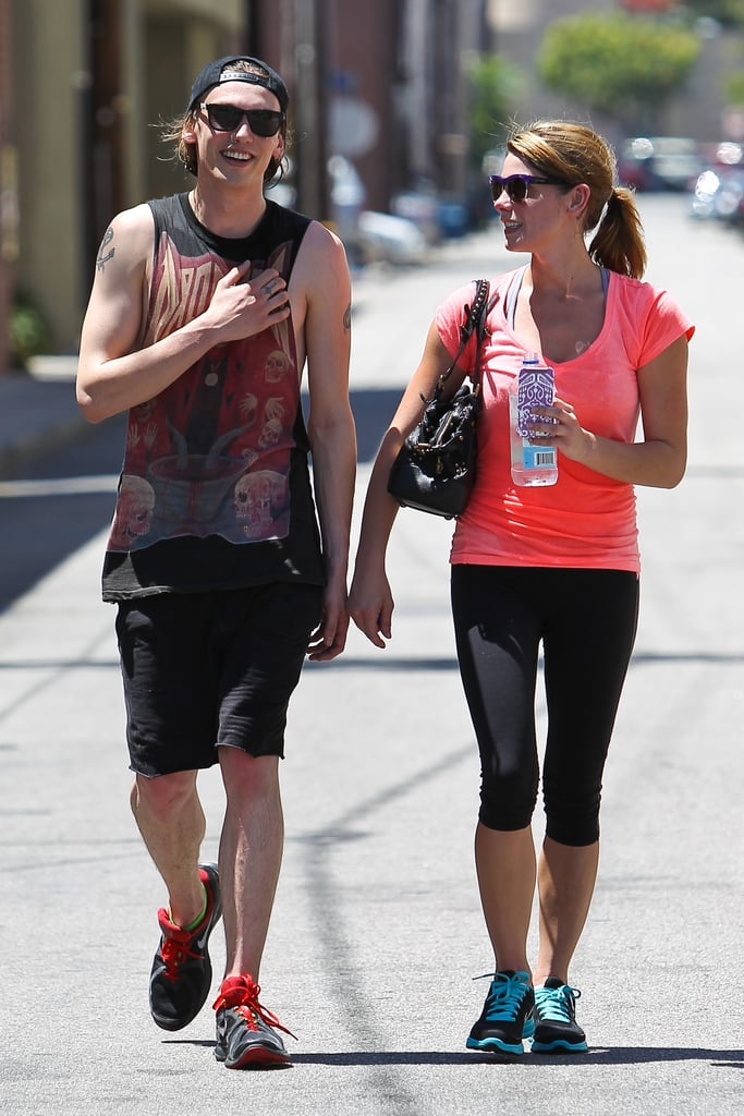 Ashley Greene left the gym in Los Angeles looking fit and toned on August 8. The guy? Actor Jamie Campbell Bower, who's just split with girlfriend Lily Collins.