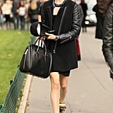 Isabel Marant sneakers gave this leather-sleeved look even more street-chic edge.